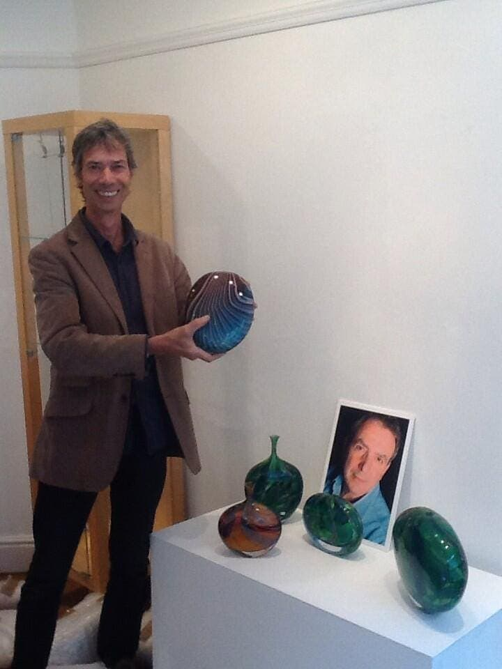 Preparing the glass art exhibition in York