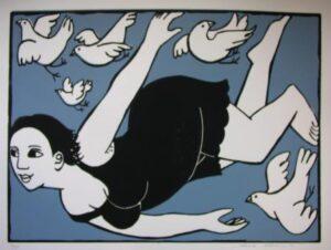 Lady with birds by Anita Klein