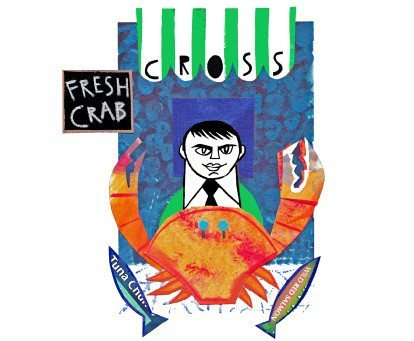 Cross Fish Crab Print by Linda Combi