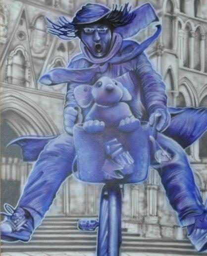 purpleman by David Earl airbrush on camvas 31 x 40 in