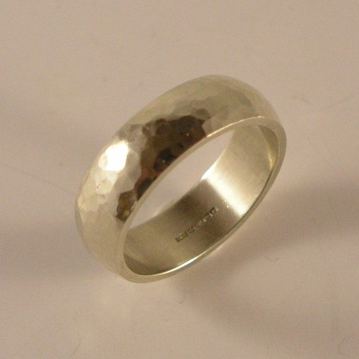 Sarah-Chilia-9ct-White-Gold-Hammered-Wedding-Band