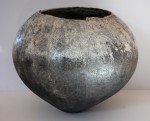 White Rounded Vessel , raku fired ceramic pot by Stephen Murfitt