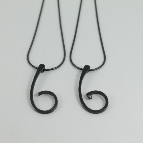 Oxidised silver one swirl pendant by Sarah Chilia
