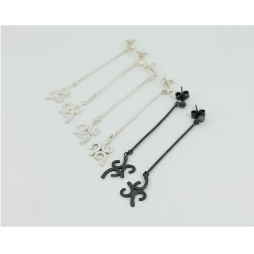 Silver and oxidised three drop earrings by Sarah Chilia