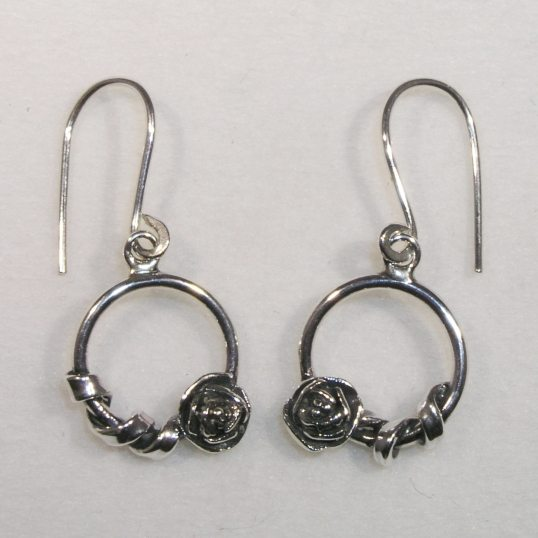 Silver circle rose twist drop earrings