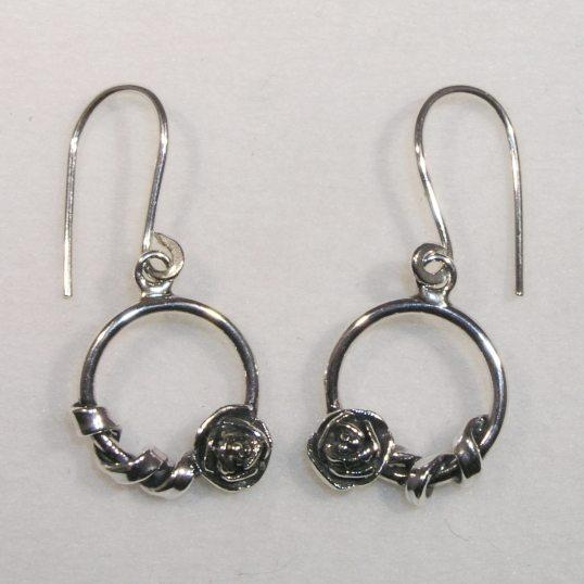 Silver circle rose twist drop earrings