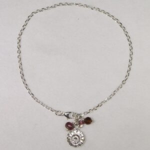 Silver daisy bead bracelet with garnet, amber and pink tourmaline