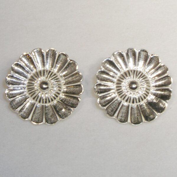 Silver large daisy clip-on earrings