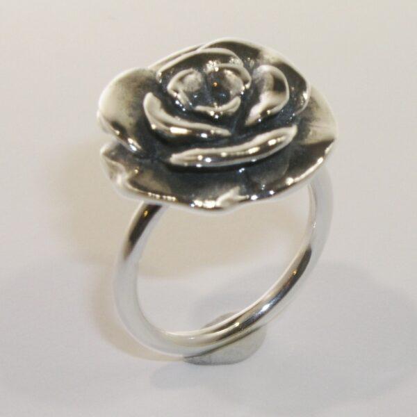 Silver large rose ring