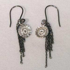 Midnight daisy tassel earrings with oxidised silver chains