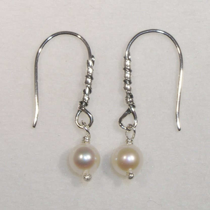 Silver and pearl twist drop earrings