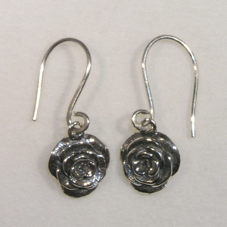 Silver rose drop earrings