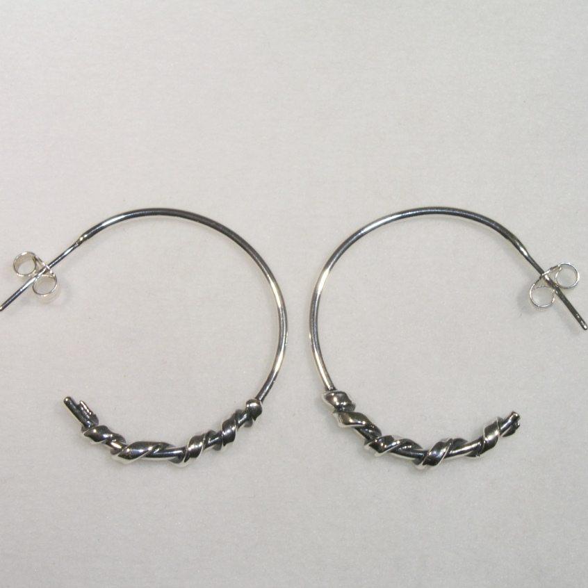 Silver twist hoop earrings