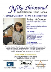 Nika plays Bach and Mozart at the NCEM on friday 16 October