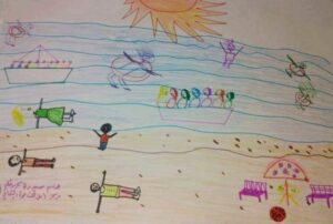 drawings by Syrian children as part of Purpleman's Toys for Syria appeal
