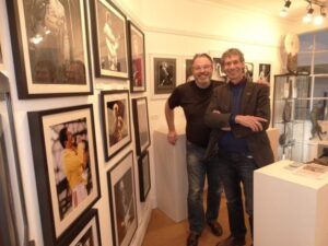 Ian Astle with Terry Brett during exhibition hanging