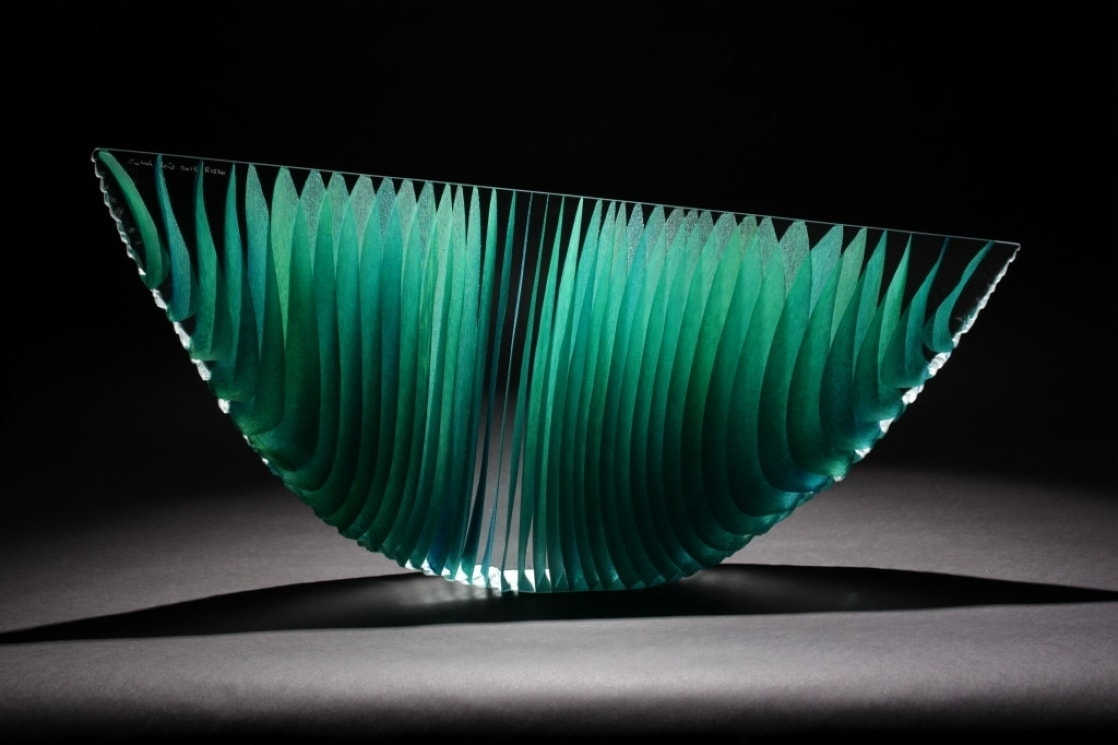 Green Crescent R1830, glass sculpture ...