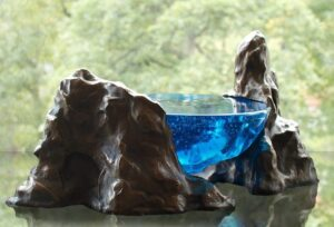 Cast glass and bronze sculpture by Criss Chaney