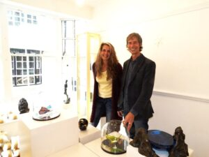 Terry Brett with glass artist Laura Hart