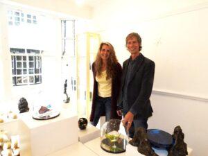 Terry Brett with glass artist Laura Hart