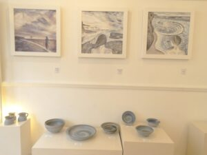 Emma Whitelock acylic and mixed media, Gerry Grant ceramics