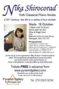 Nika Shirocorad performs at the National Centre for Early Music 18 October 2017