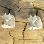 Silver Sitting Fox stud earrings by Katie Stone