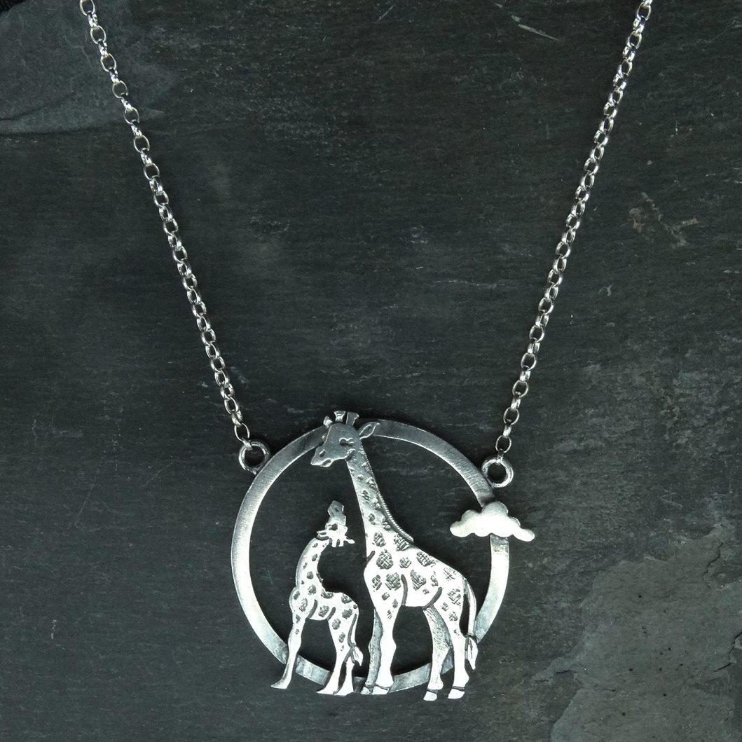 Silver Giraffe pendant necklace by Katie Stone - Pyramid ...