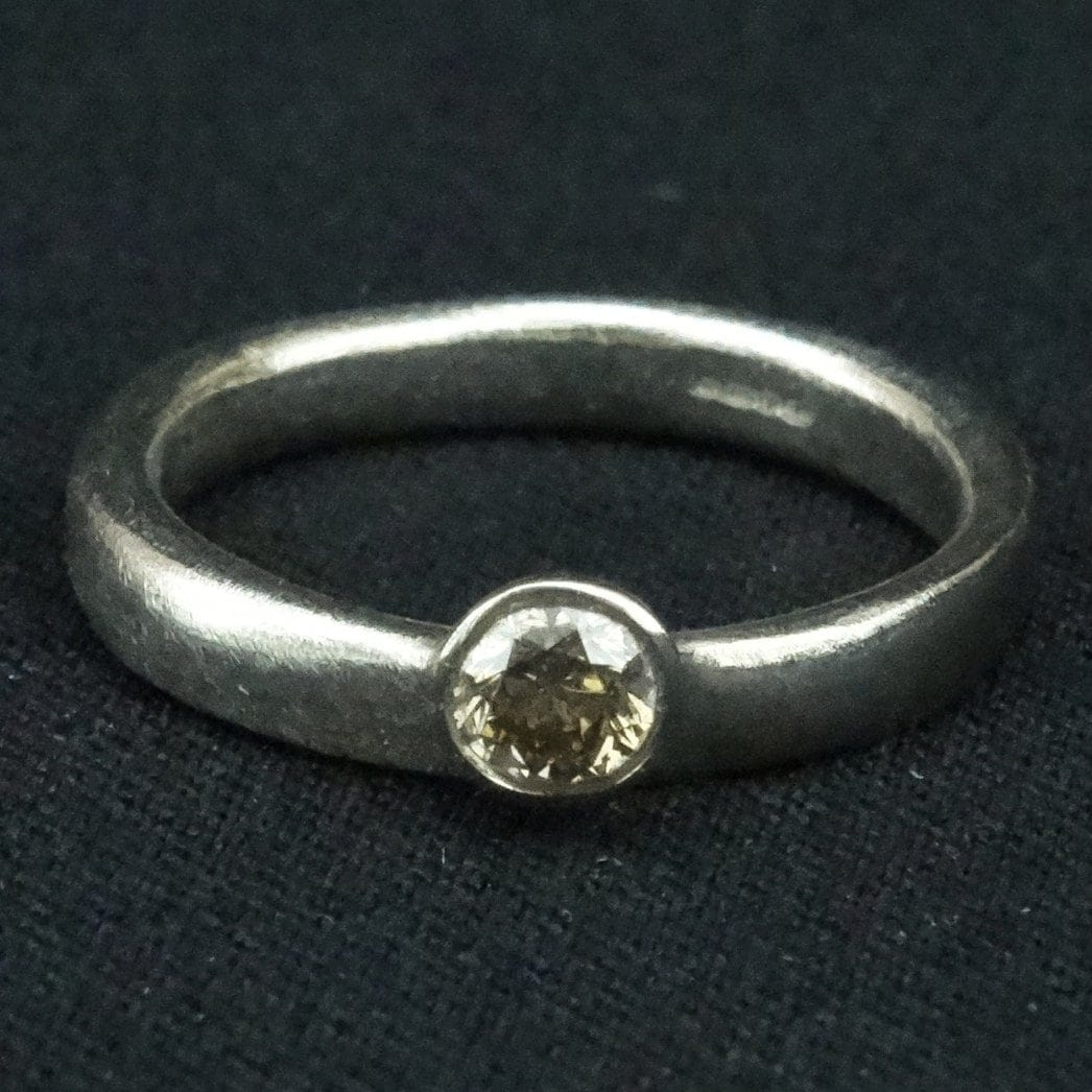 f79dcd004b01a 18ct gold ring with brown diamond by Diana Porter