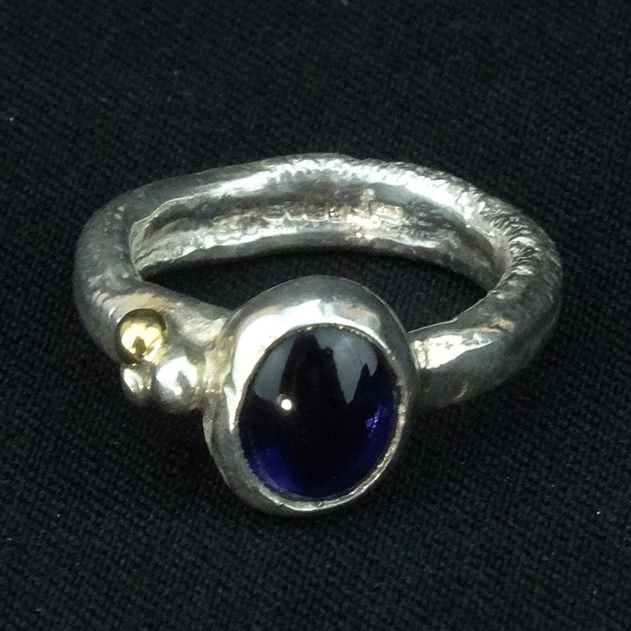 Silver Ring With Iolite By Sally Ratcliffe Pyramid Gallery