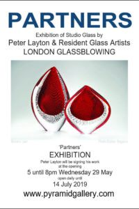 Partners exhibition of studio glass by Peter Layton and the London Glassblowing resident glass artists