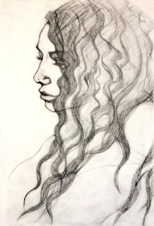 young woman drypoint
