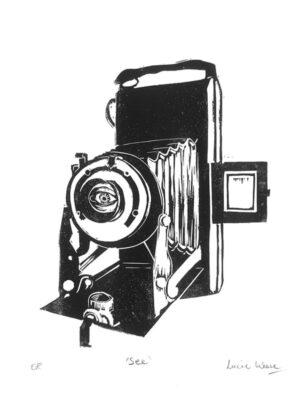 camera linocut print