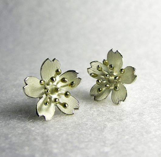 silver blossom studs